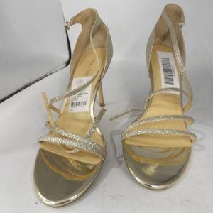 Ivanka Trump Gold Glitter Strappy Sandals